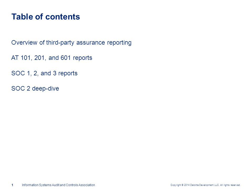 Overview of third-party assurance reporting