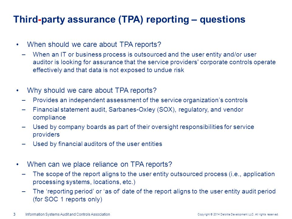 Third-party assurance – report type snapshot