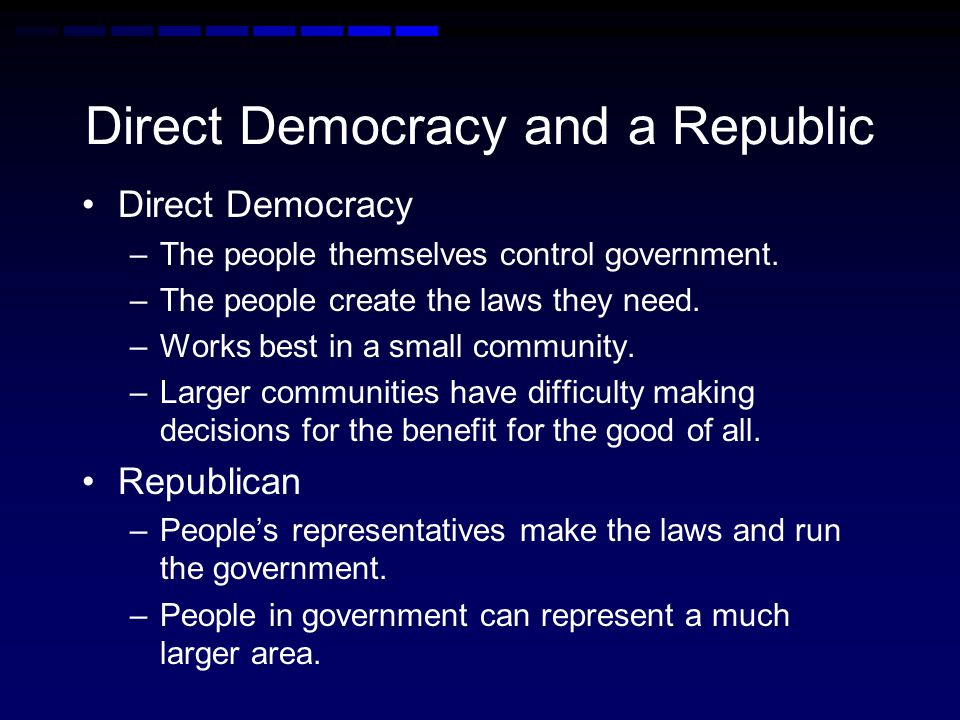 Republic Characteristics: Citizens have the power to govern.
