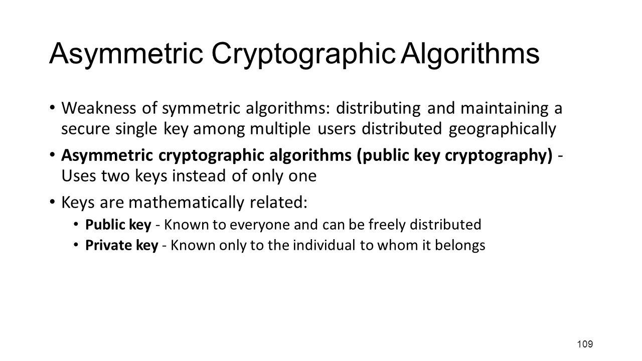 Asymmetric Cryptographic Algorithms