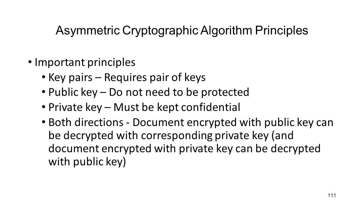 Asymmetric Cryptographic Algorithm Principles