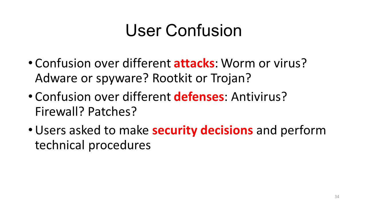 User Confusion Confusion over different attacks: Worm or virus Adware or spyware Rootkit or Trojan
