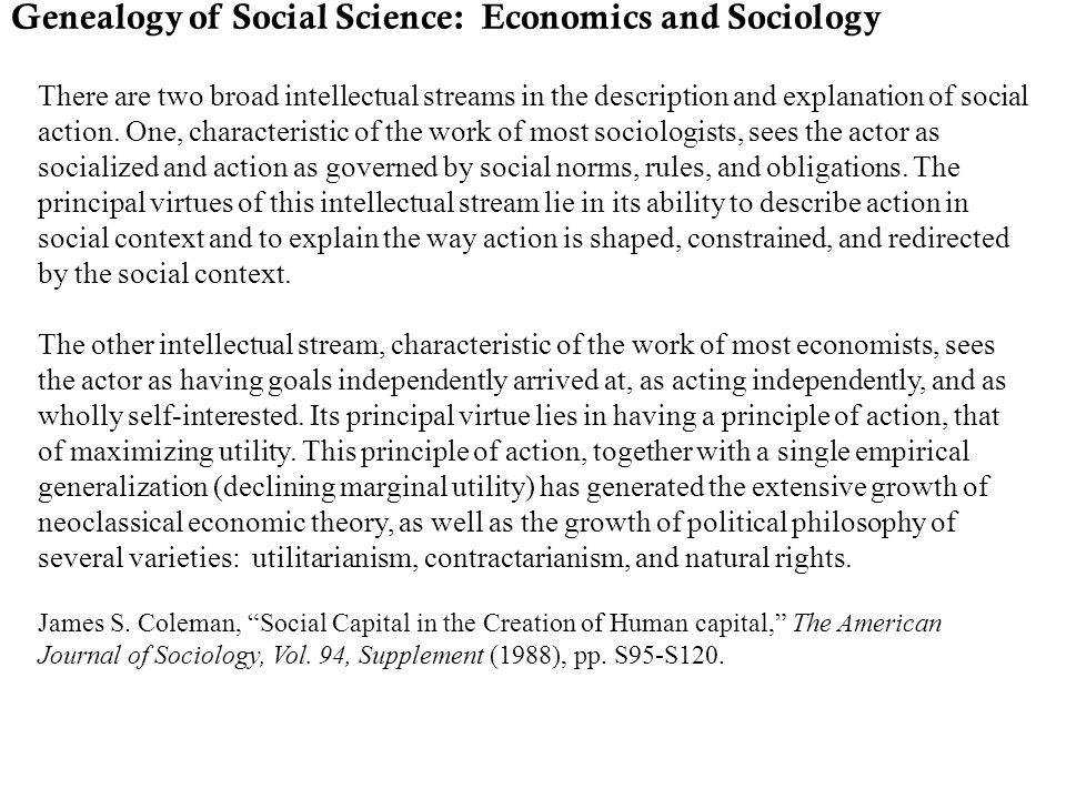 Genealogy of Social Science: Economics and Sociology
