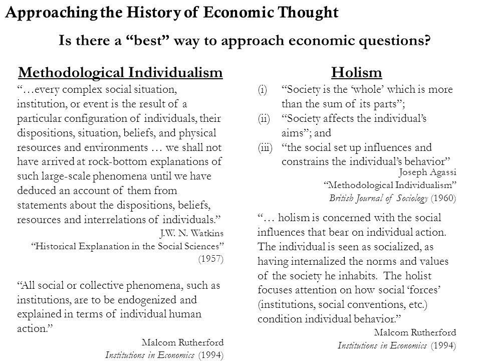 Approaching the History of Economic Thought