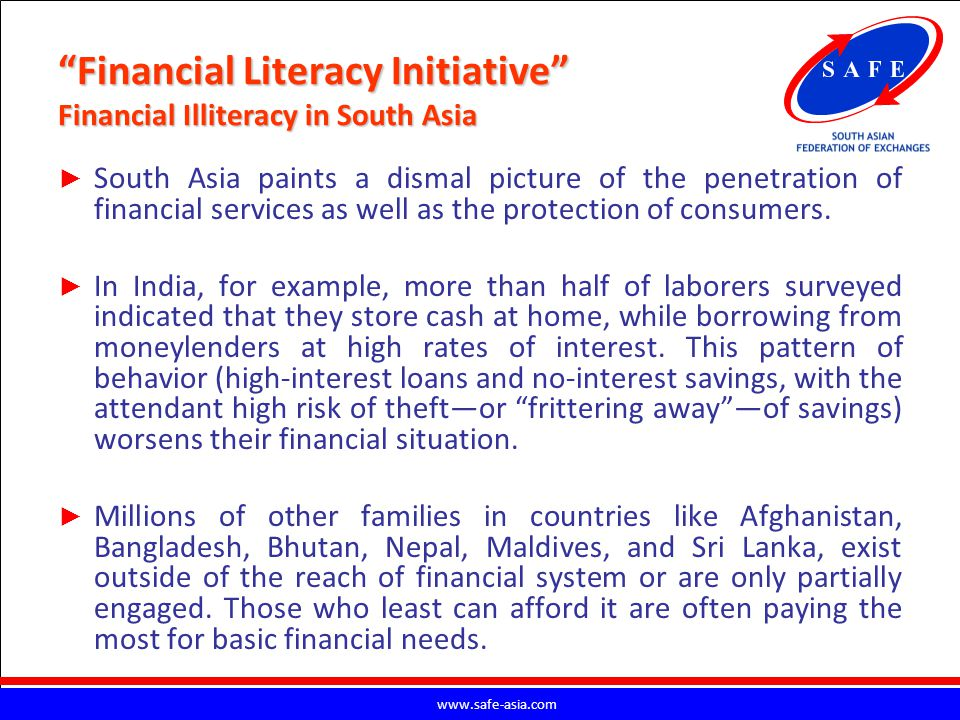 Financial Literacy Initiative Financial Illiteracy in South Asia