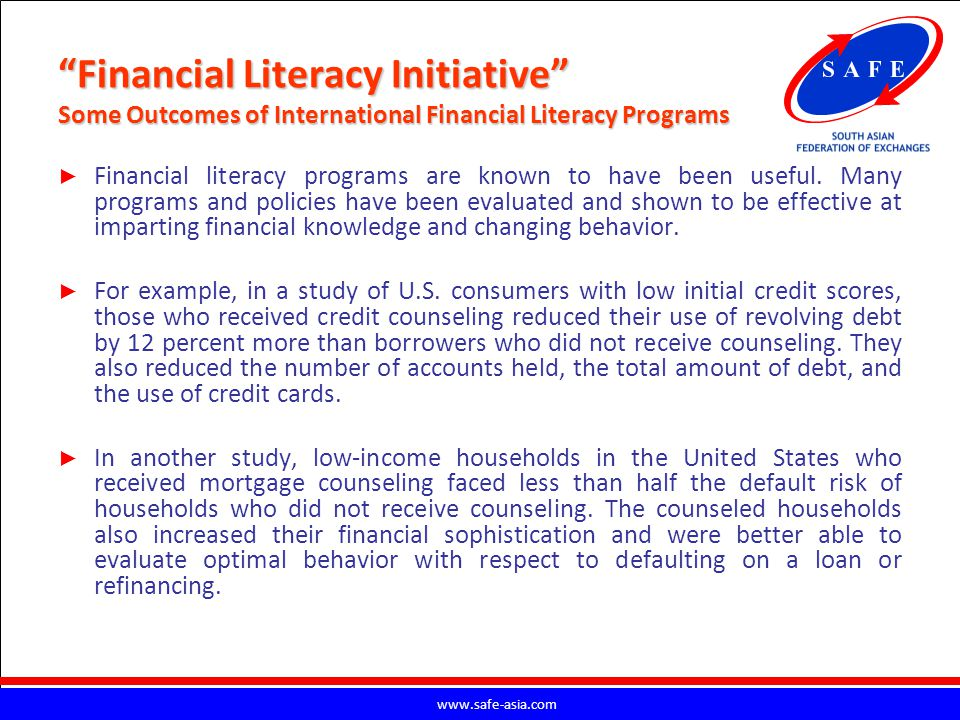 Financial Literacy Initiative Some Outcomes of International Financial Literacy Programs