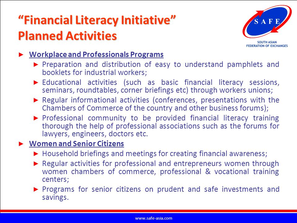 Financial Literacy Initiative Planned Activities