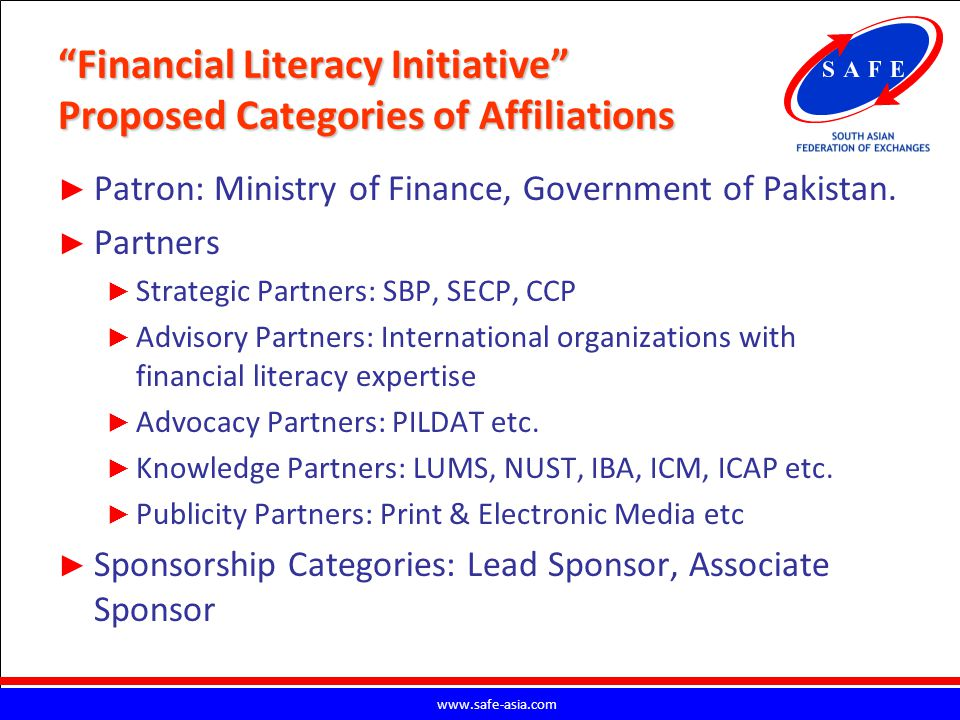 Financial Literacy Initiative Proposed Categories of Affiliations