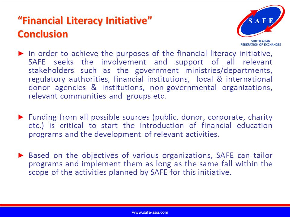 Financial Literacy Initiative Conclusion