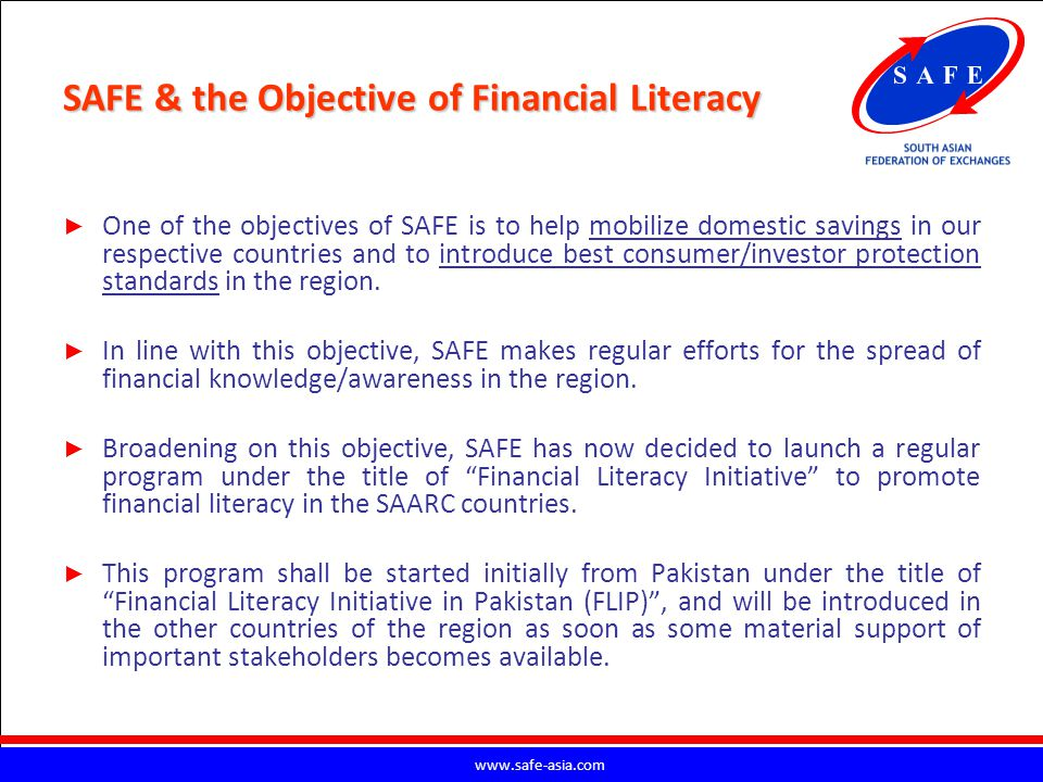 SAFE & the Objective of Financial Literacy