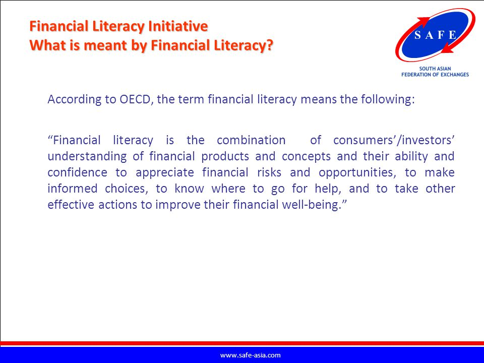Financial Literacy Initiative What is meant by Financial Literacy