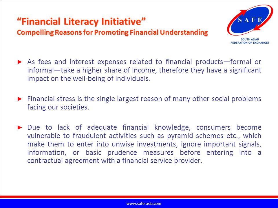 Financial Literacy Initiative Compelling Reasons for Promoting Financial Understanding