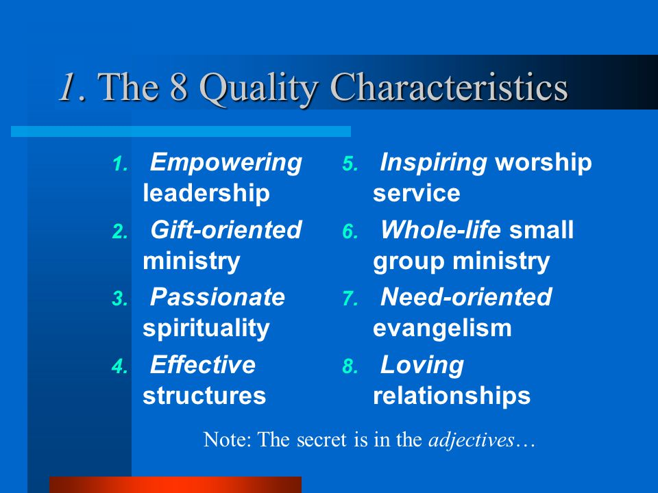 1. The 8 Quality Characteristics