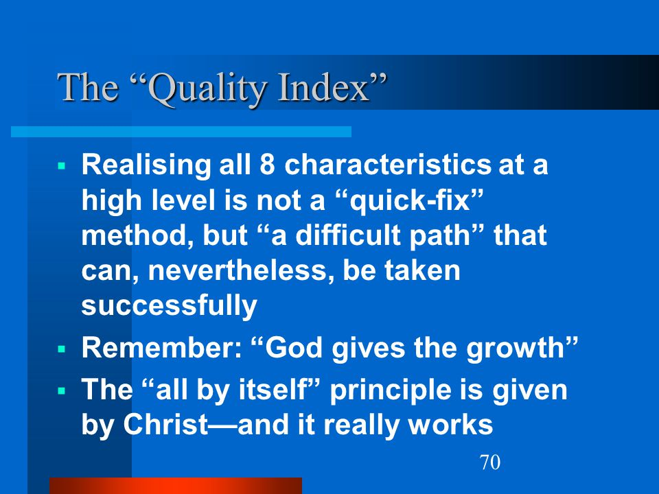 Natural Church Growth The Quality Index