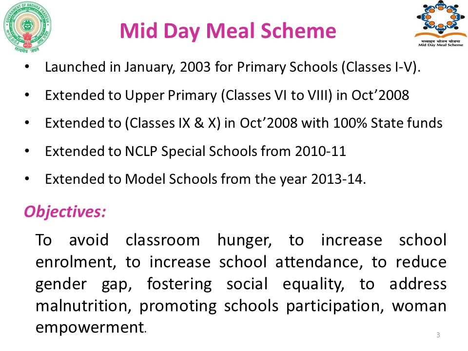 Mid Day Meal Scheme Objectives: