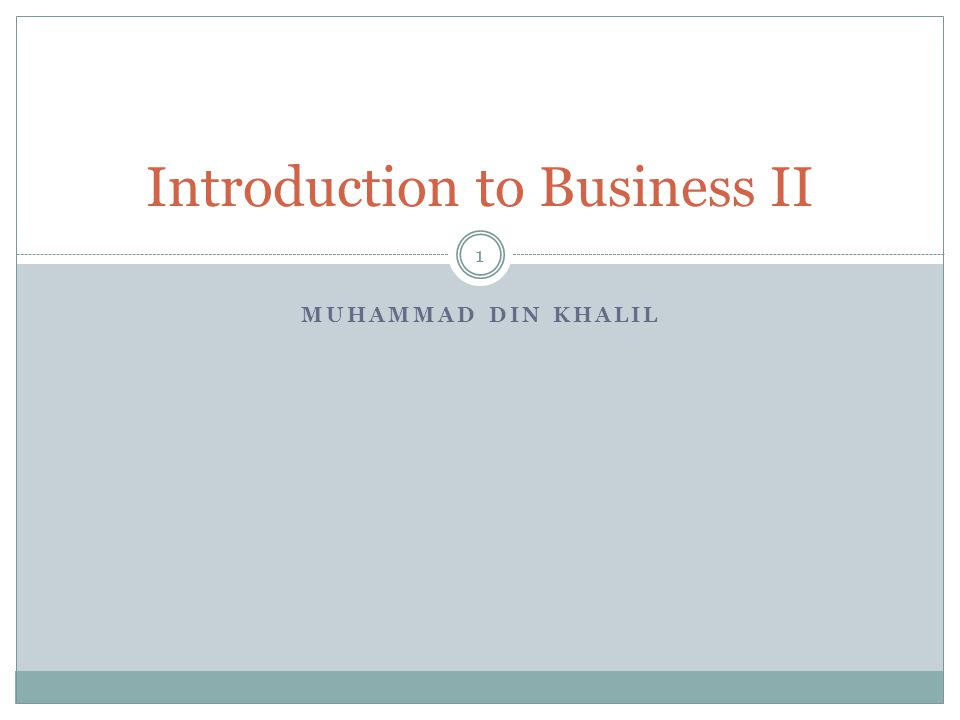 Introduction to Business II