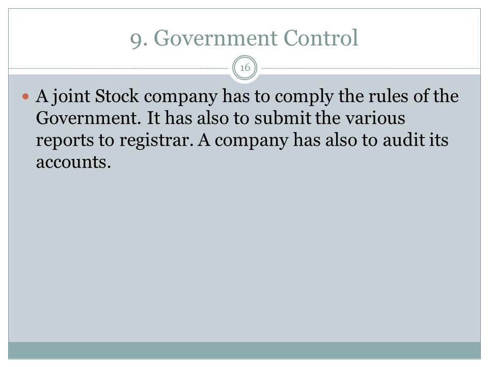 9. Government Control