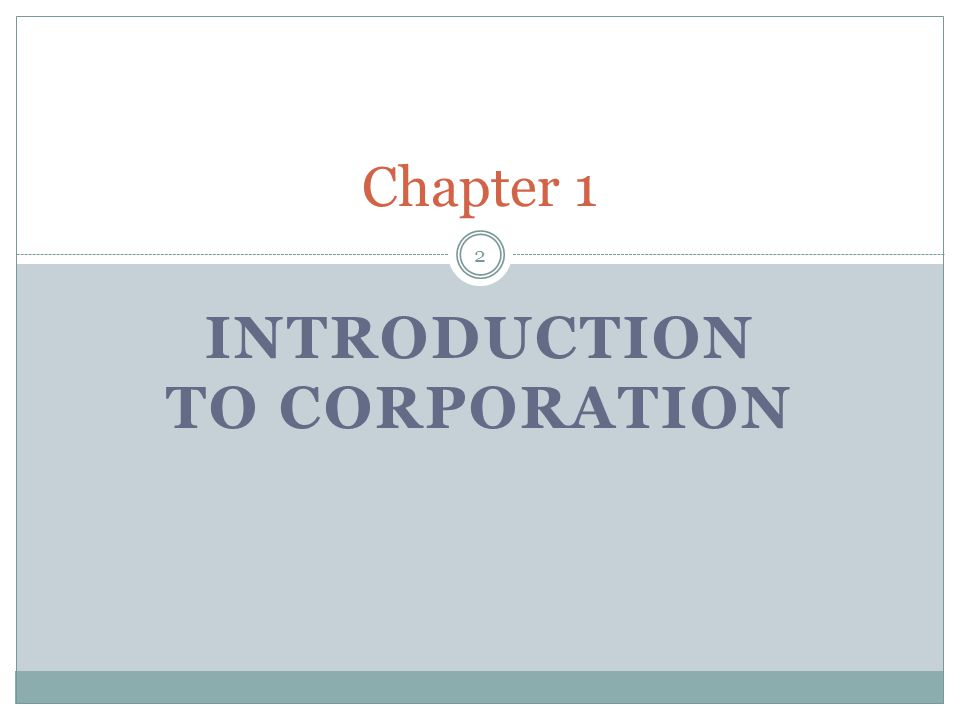 Introduction to Corporation