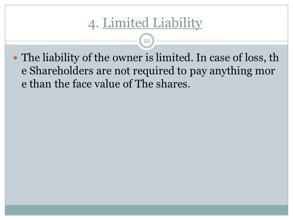 4. Limited Liability