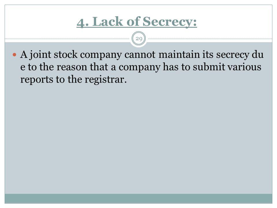4. Lack of Secrecy: