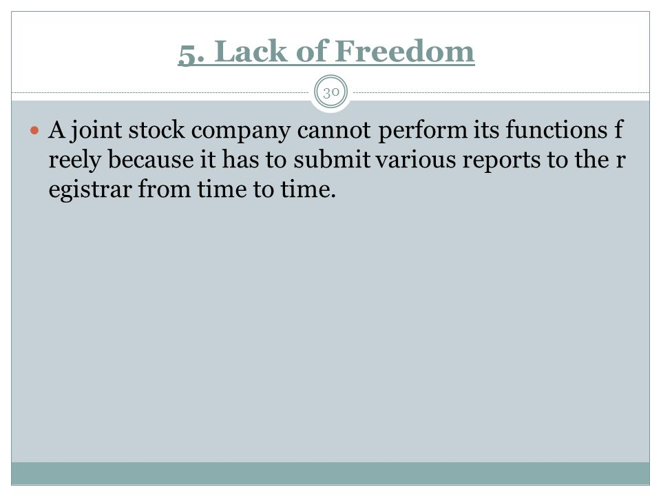5. Lack of Freedom