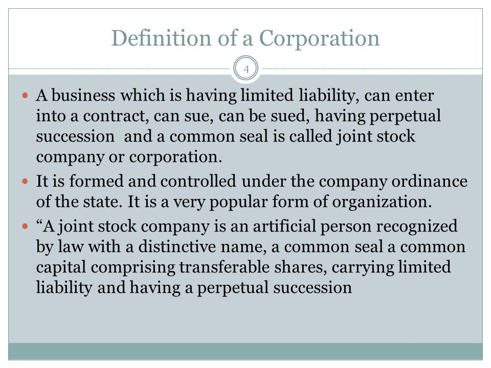 Definition of a Corporation