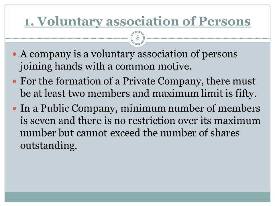 1. Voluntary association of Persons