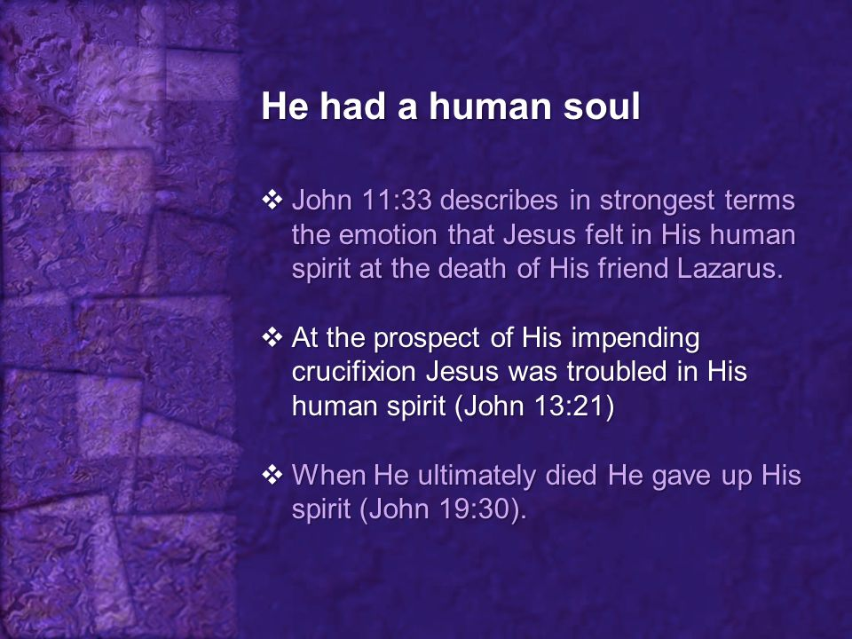 He had a human soul John 11:33 describes in strongest terms the emotion that Jesus felt in His human spirit at the death of His friend Lazarus.
