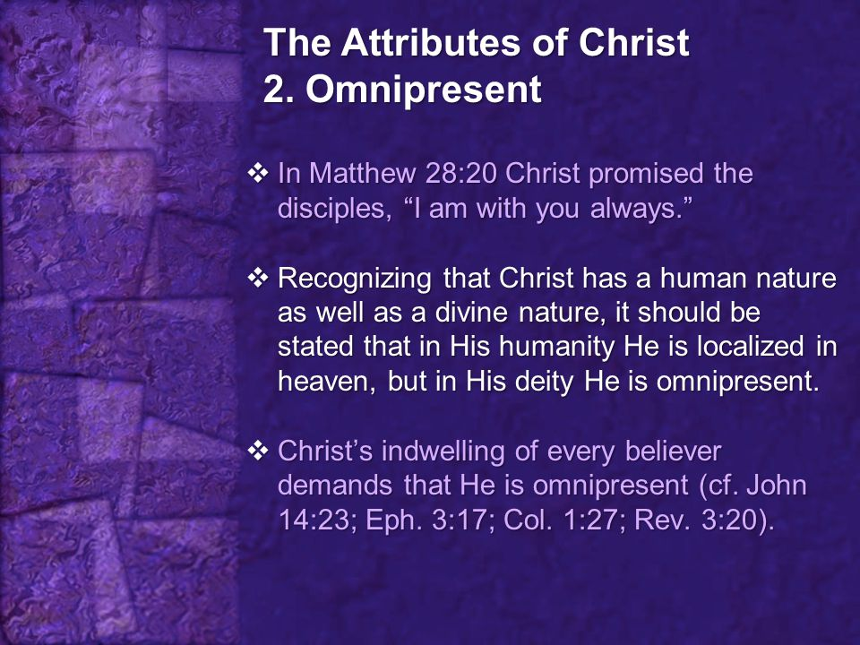 The Attributes of Christ 2. Omnipresent