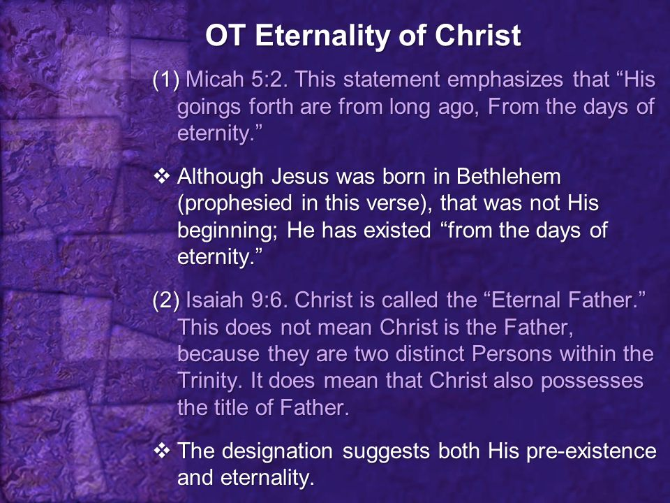 OT Eternality of Christ