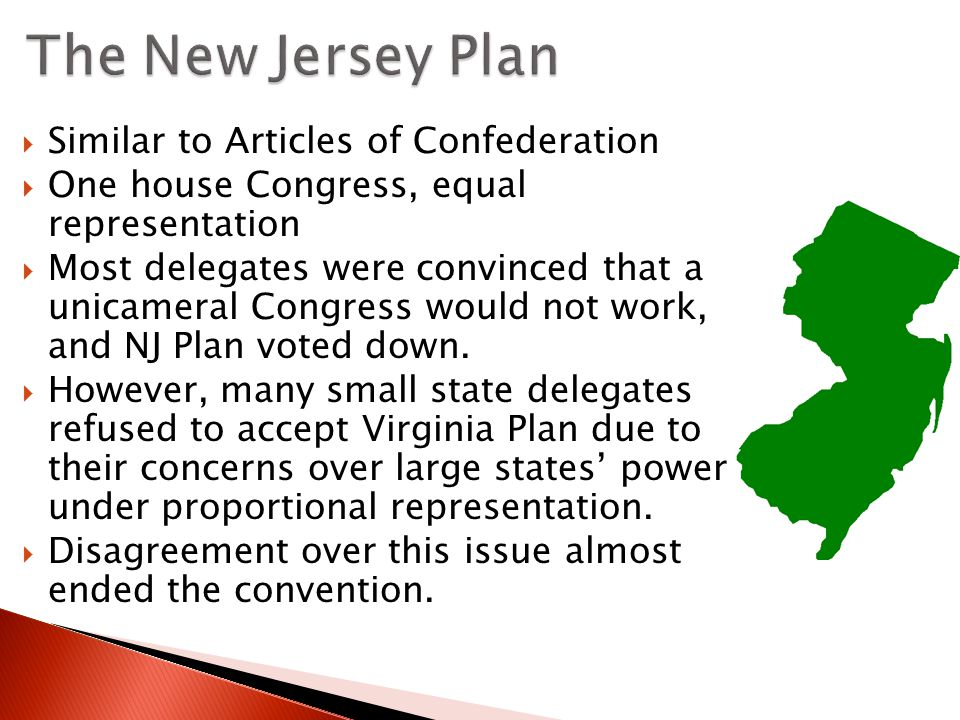 The New Jersey Plan Similar to Articles of Confederation