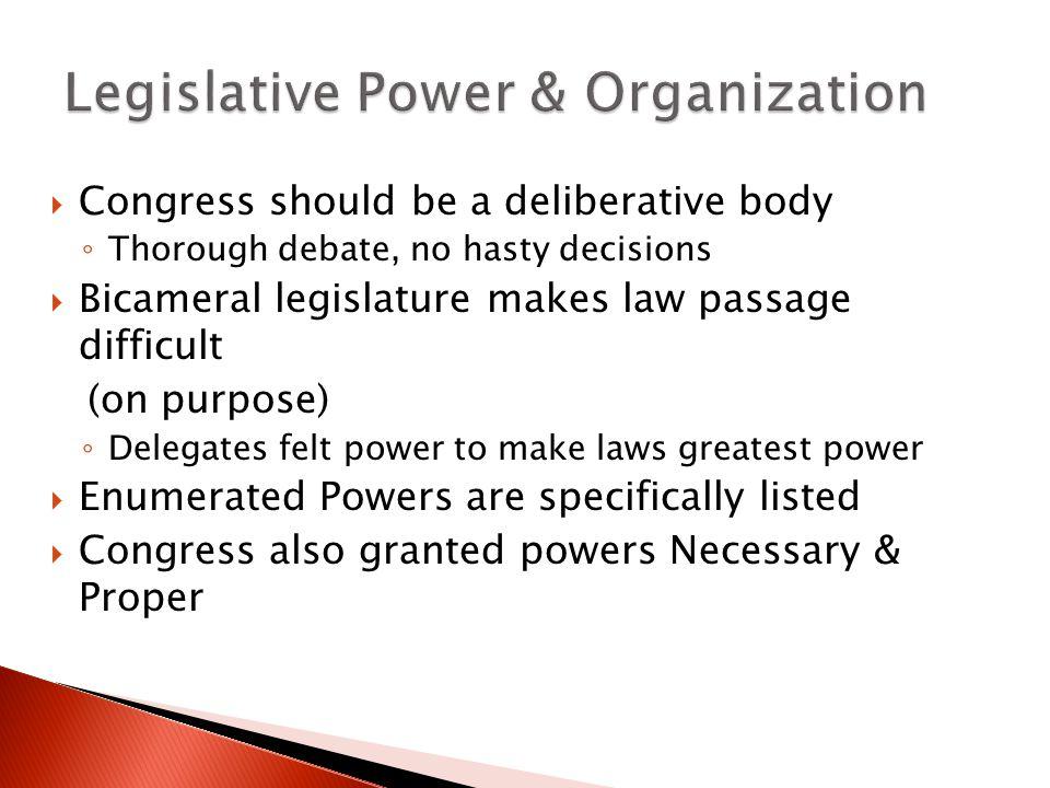Legislative Power & Organization