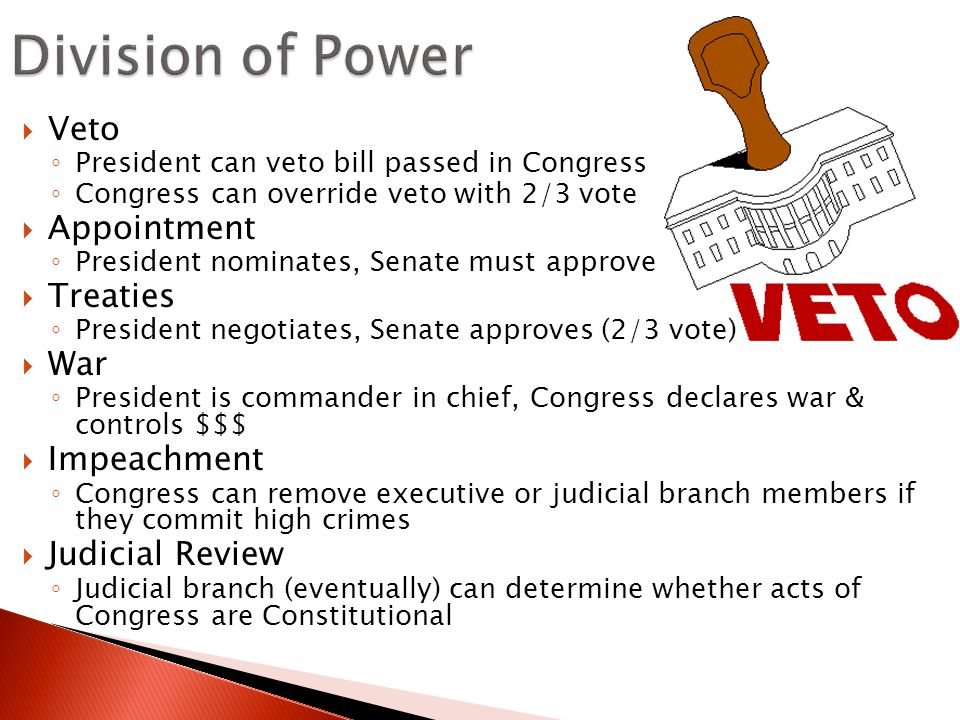 Division of Power Veto Appointment Treaties War Impeachment