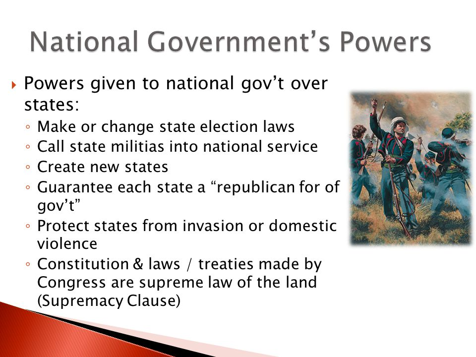 National Government's Powers