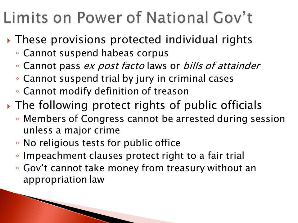 Limits on Power of National Gov't
