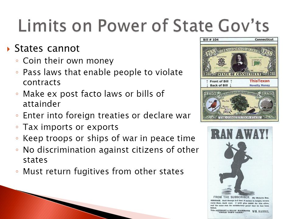 Limits on Power of State Gov'ts