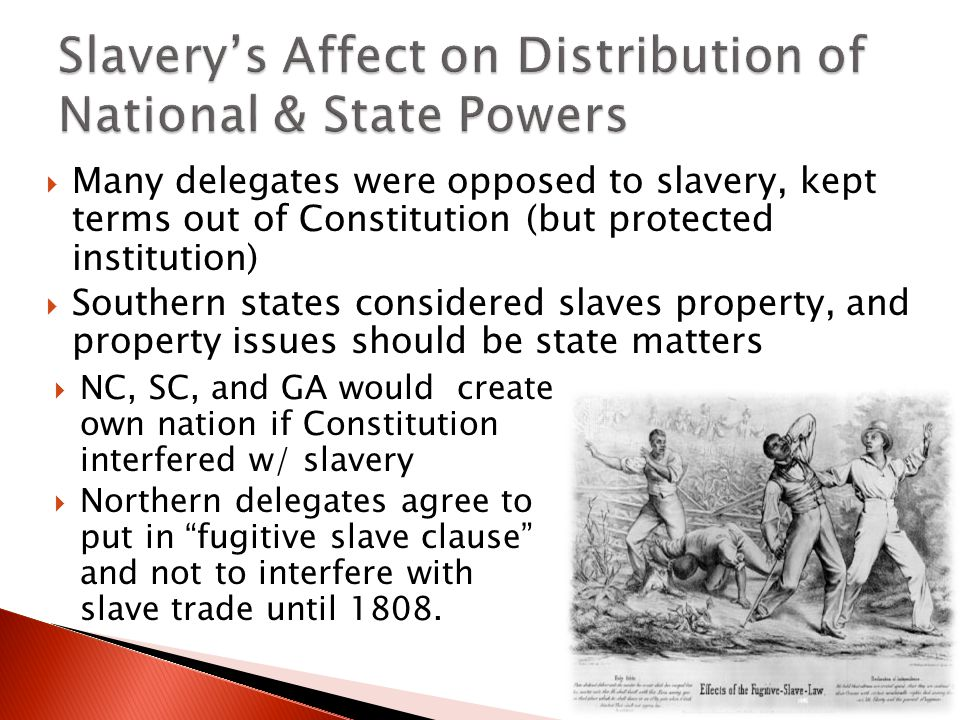 Slavery's Affect on Distribution of National & State Powers