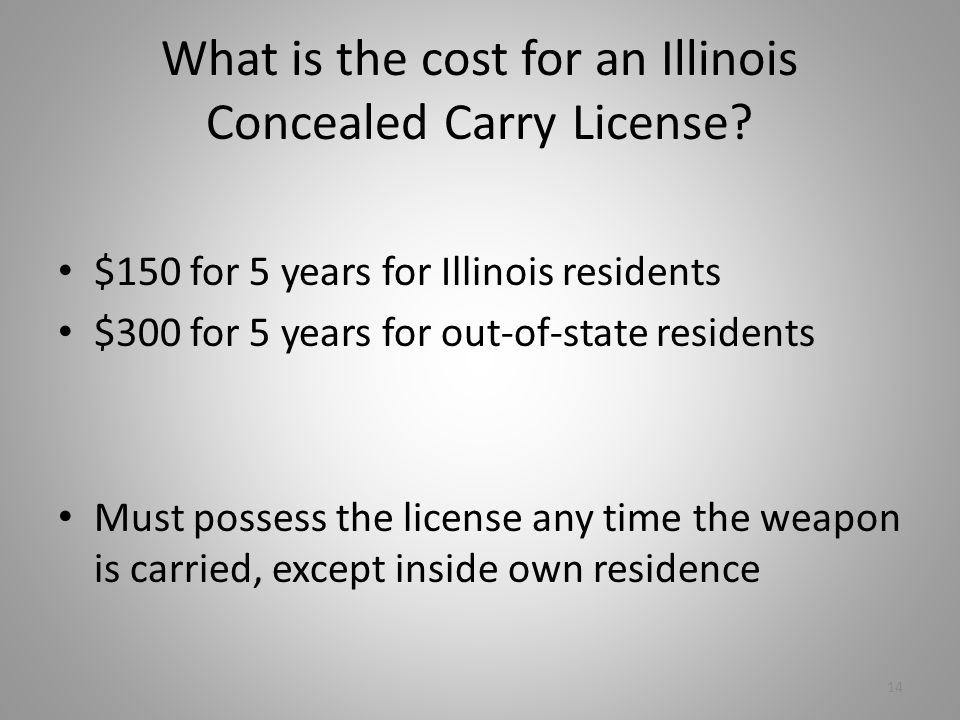 What is the cost for an Illinois Concealed Carry License