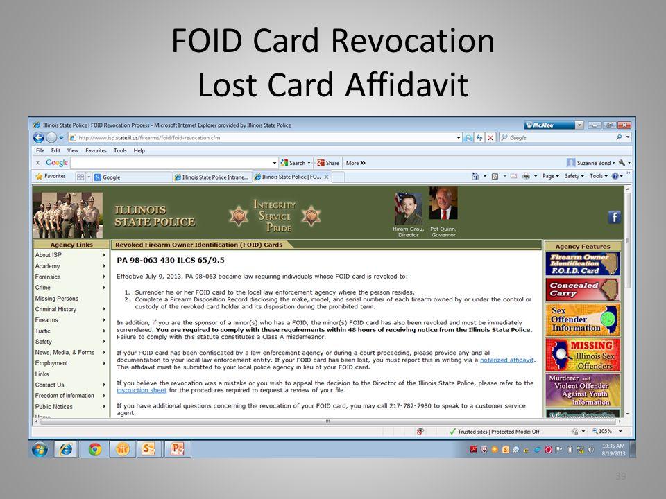 FOID Card Revocation Lost Card Affidavit
