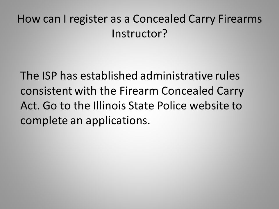 How can I register as a Concealed Carry Firearms Instructor