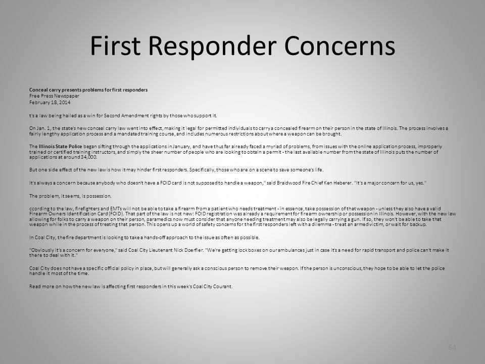 First Responder Concerns