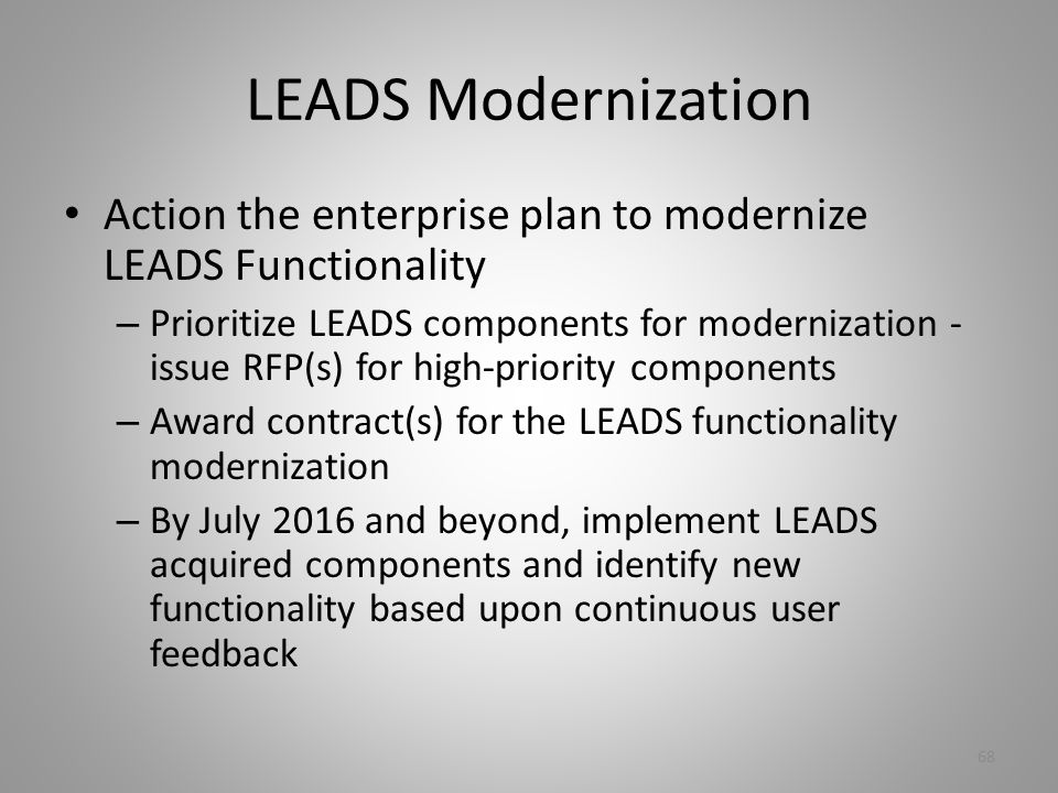 LEADS Modernization Action the enterprise plan to modernize LEADS Functionality.