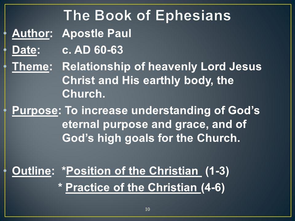 The Book of Ephesians Author: Apostle Paul Date: c. AD 60-63