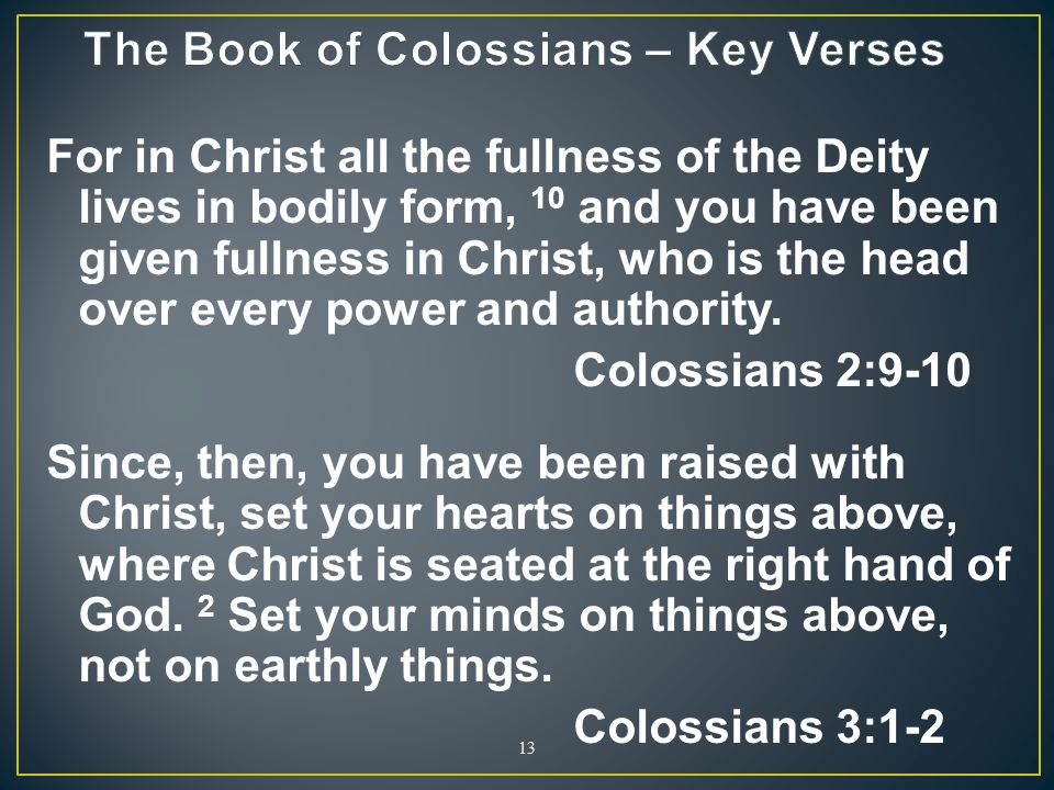 The Book of Colossians – Key Verses