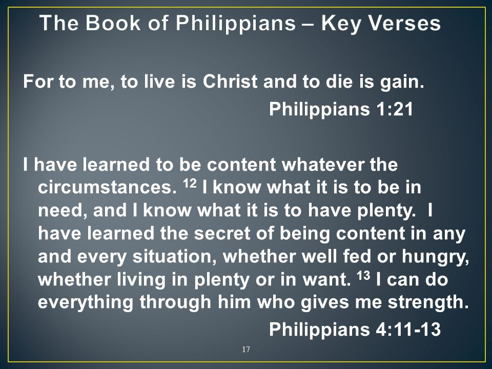 The Book of Philippians – Key Verses