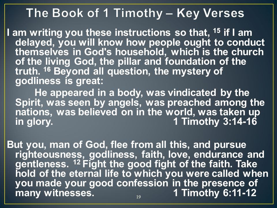 The Book of 1 Timothy – Key Verses