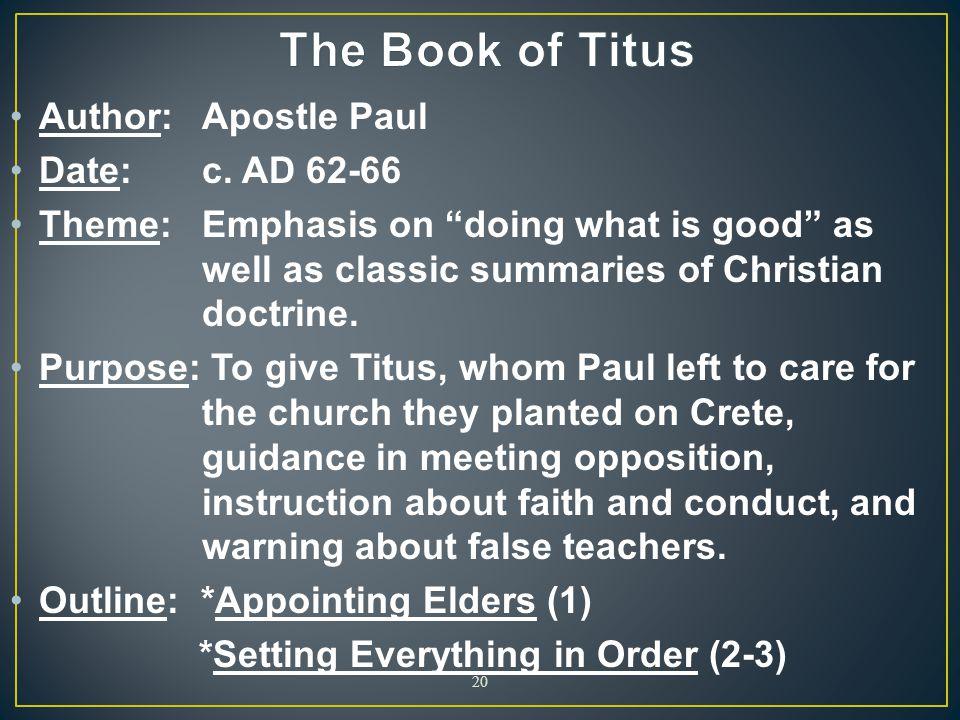 The Book of Titus Author: Apostle Paul Date: c. AD 62-66