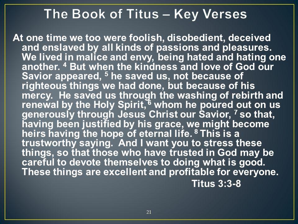 The Book of Titus – Key Verses