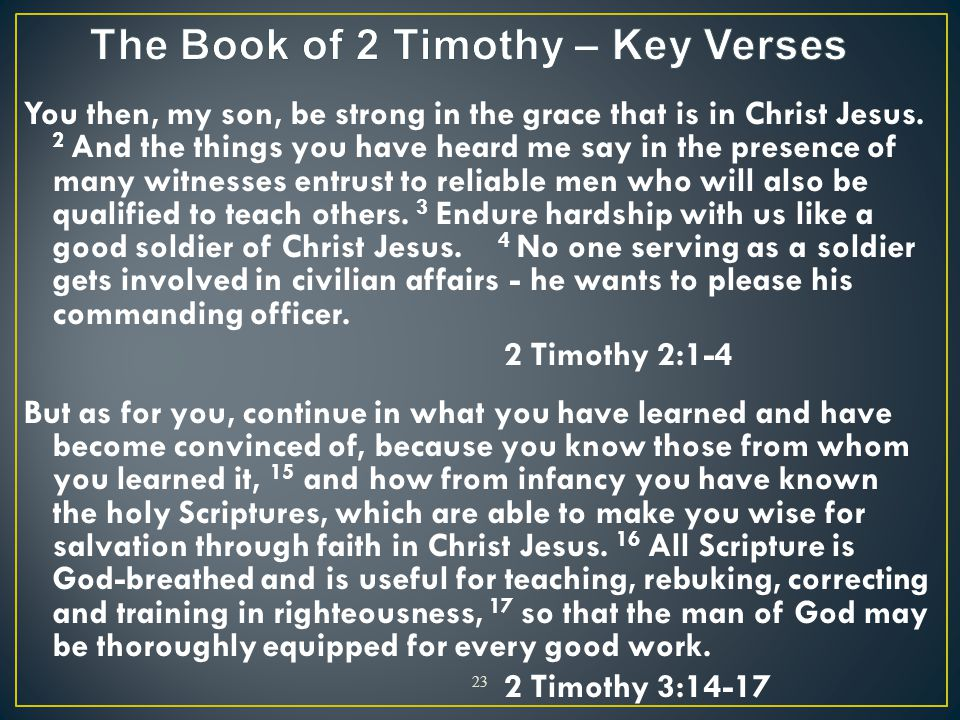 The Book of 2 Timothy – Key Verses
