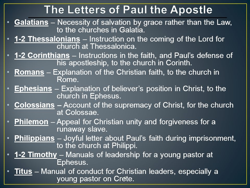 The Letters of Paul the Apostle
